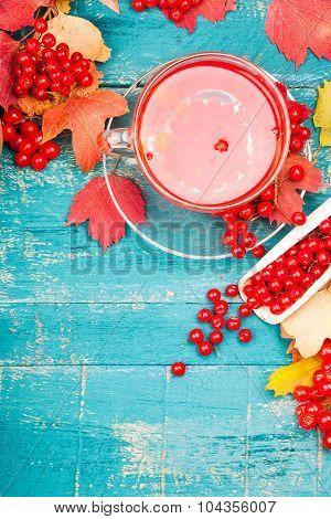 Tea health with viburnum. Useful food background