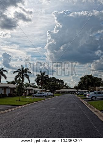 Dramatic skies over residential street in Florida