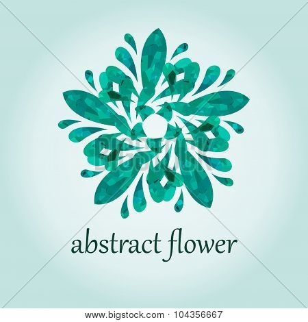 Green abstract flower illustration for poster