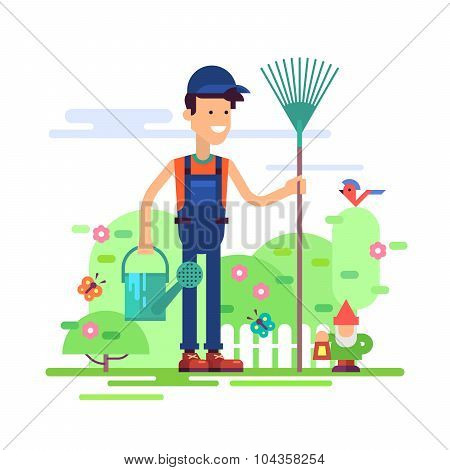 Modern male character - gardener standing in garden in coverall with rake and watering can. Vector i