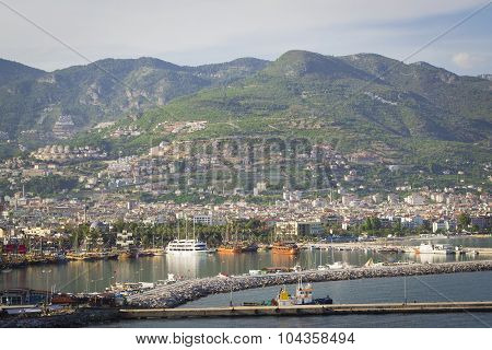 Alanya's city and port with the lighthouse, Alanya, Turkey