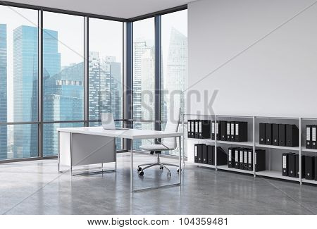 A Ceo Workplace In A Modern Corner Panoramic Office With Singapore City View. A White Desk With A La