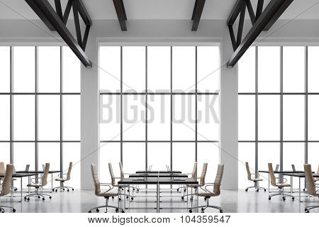 Modern Workplaces In A Modern Bright Clean Interior Of A Loft Style Office. Huge Windows With Copy S