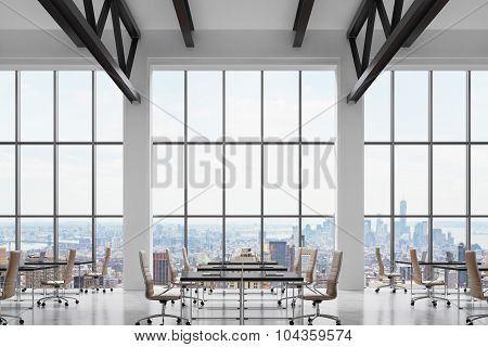 Modern Workplaces In A Modern Bright Clean Interior Of A Loft Style Office. Huge Windows With New Yo