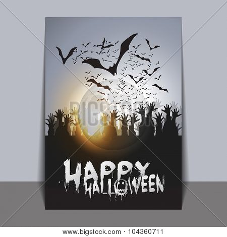 Halloween Card Template with Flying Bats and Spider with Glowing Eyes
