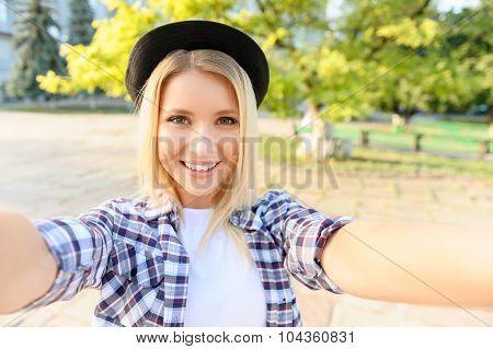 Nice girl having a walk