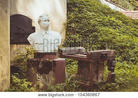 The broken monument to Maxim Gorky on Fort Krasnaya Gorka