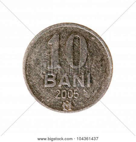 Coin Five Baths Of Moldova Isolated On A White Background. Top View.