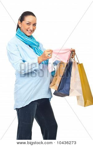 Excited Pregnant Woman At Shopping