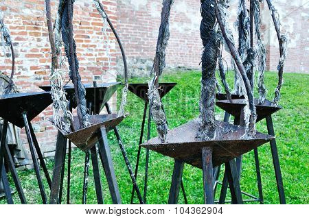 Old Russian Tripods For Keeping The Fire Burn In Veliky Novgorod Kremlin, Russia