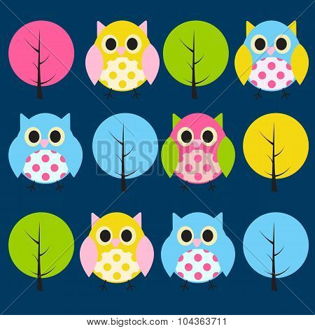 Ow and Treel Pattern Background Vector Illustration