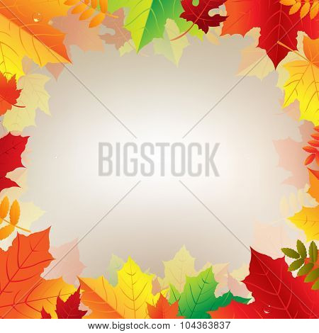 Autumn Banner With Leaves With Gradient Mesh, Vector Illustration