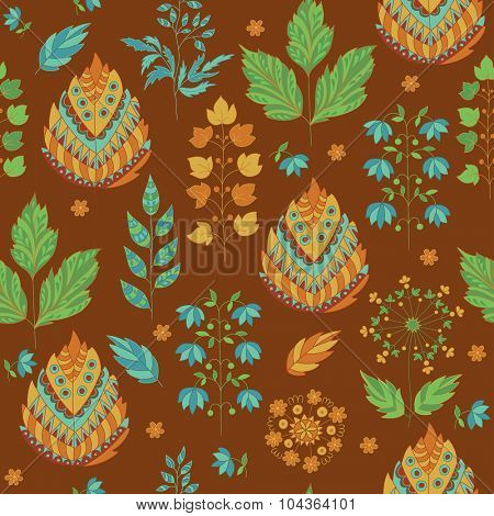 Abstract Autumn Seamless Pattern. Floral and Herbal Ornament.