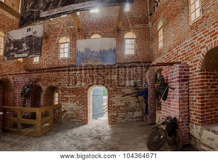 VELIKY NOVGOROD RUSSIA - AUGUST 18 2014. The interior of the tower of the Novgorod Kremlin Veliky Novgorod