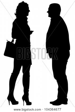 Young guy and girl couple on white background