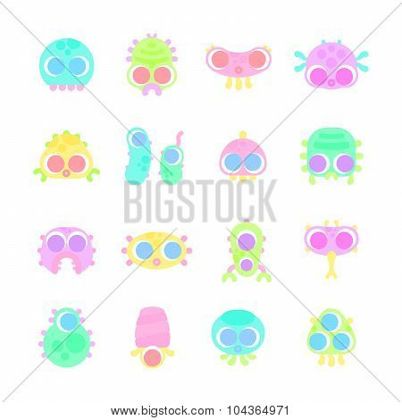 Set Of Simple Minimal Flat Monster Characters For Use In Design