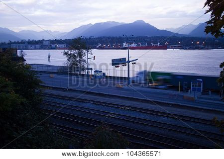 Truck,  Seaside, Tollbooth, Burrard, Inlet, Vancouver, Bc, Mountains, Seascape, Landslide, Sky Night