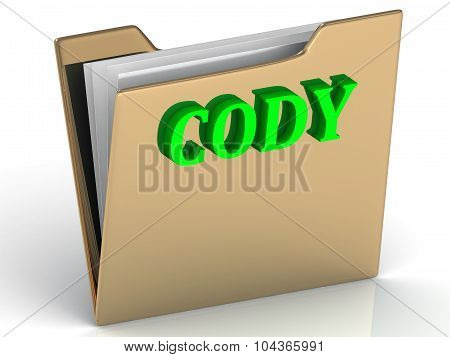 Cody- Name And Family Bright Letters On Gold