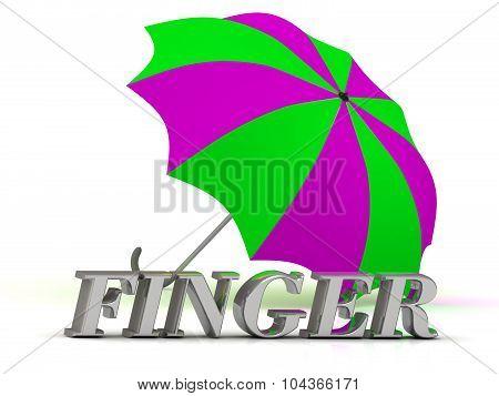 Finger- Inscription Of Silver Letters And Umbrella