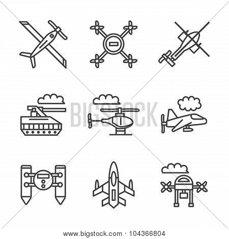 Military unmanned vehicles flat vector line icons