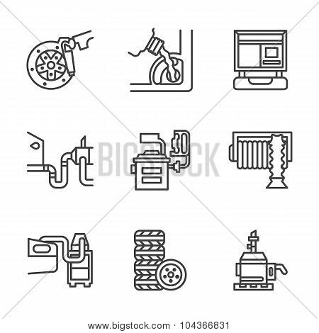 Car service center flat line vector icons