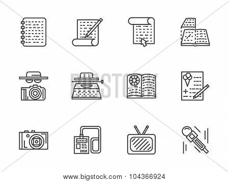 Flat line journalism vector icons set