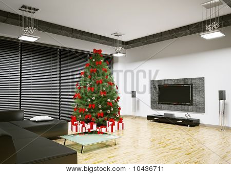 Christmas Tree In Living Room Interior 3D Render
