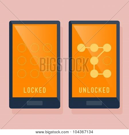 Smart Phone Locked And Unlocked Swipe Icon