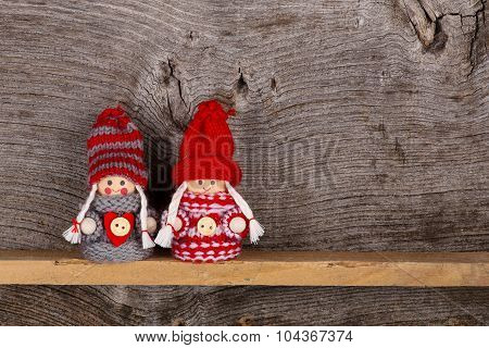 Small Children Christmas Winter Puppet Figures Red Grey Nordic