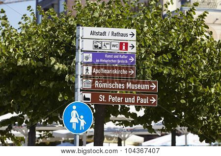 Remagen - Roadsigns At The Promenade Beneath The Rhine