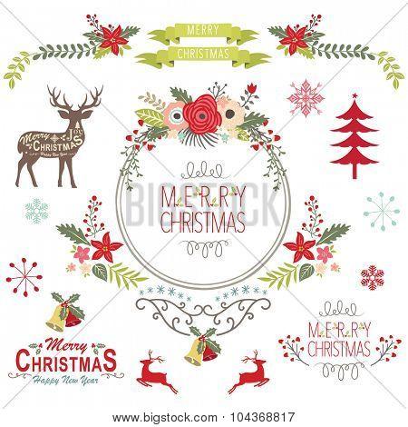 Floral Vintage Christmas Elements