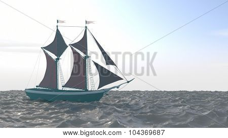 ship with red sails in the ocean