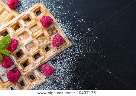 Homemade Waffles With Raspberries