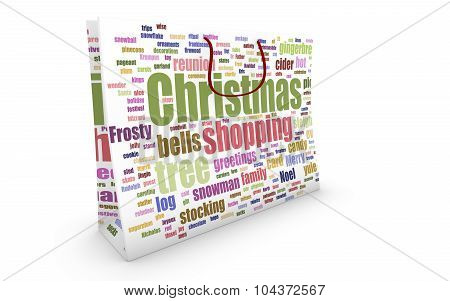Bag With Christmas Shopping Word-cloud Texture