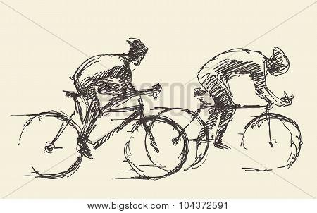 Bicyclist rider mans bike vector hand drawn sketch