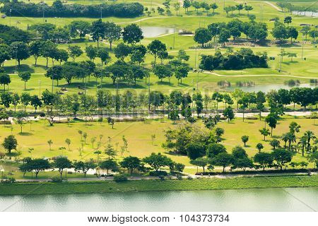 Elevated View Of A Lush, Green Golf Course