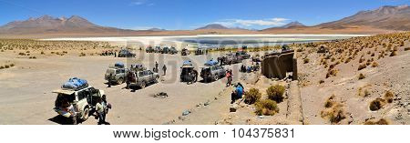 Tourist Jeeps stop at Laguna Verde in Southwestern Bolivia near Uyuni