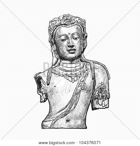 Drawing Bust Of Bodhisattva Avalokiteshvara