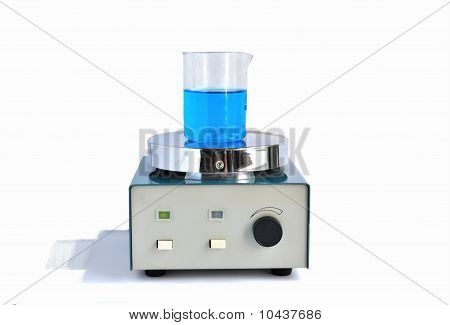 The magnetic stirrer prepare blue solution in the chemical glass