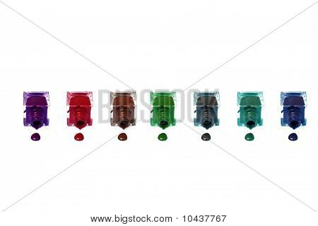 multicolor - violet red brown green gray blue turquoise nail polish bottles
