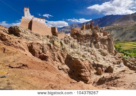 Ancient Ruins At Basgo Monastery, Leh Ladakh Landscape, Jammu And Kashmir, India