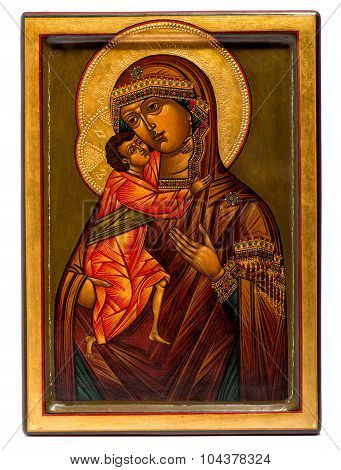 Wooden Painted Icon Of The Virgin Mary And Jesus