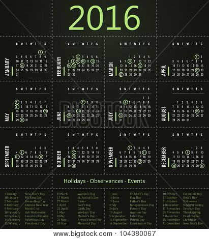 2016 calendar template with holidays, observances and events - green edition