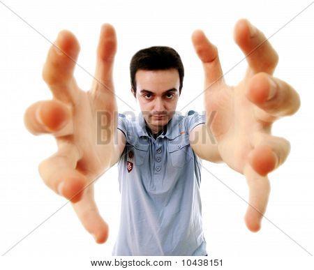 Man Reaching Something
