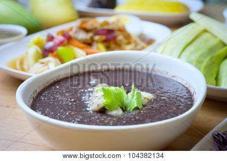 Black Rice Gruel With Fish, Food For Health Concept