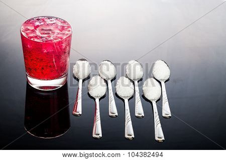 Concept Of Red Fizzy Drinks With Unhealthy Sugar Content