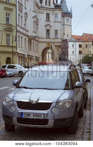 Skoda car near the Old Town Square of Prague