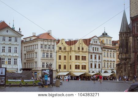 Old Town Square, Tyn Cathedral of the Virgin Mary, monument of Jan Hus, Prague