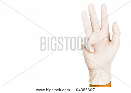 Hand In Surgical Latex Glove Gesture Number Nine