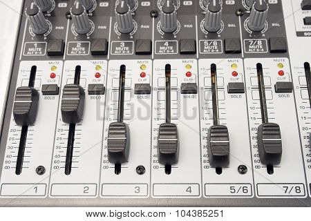 Music and sound. Control panel of an audio mixer